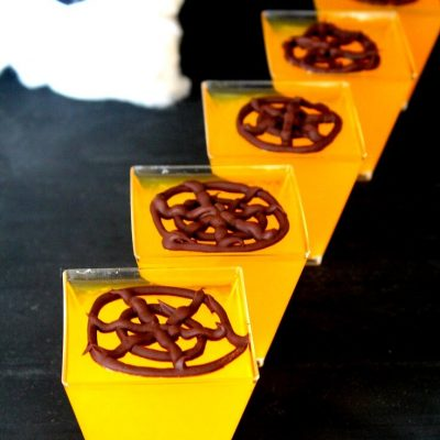 Chocolate Spider Web Jellies with Orange Juice