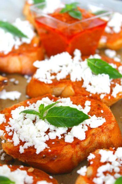 Pesto Feta Cheese Crostini Appetizer