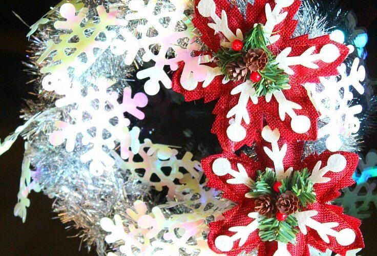 Tinsel garland wreath
