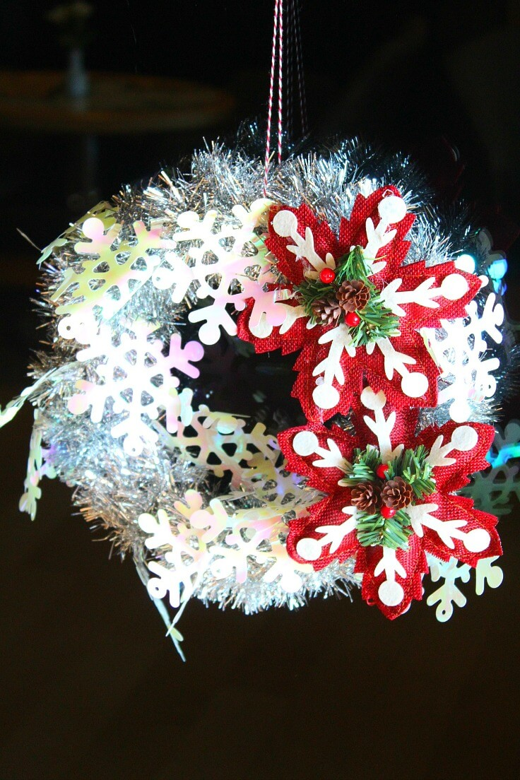 silver tinsel wreath