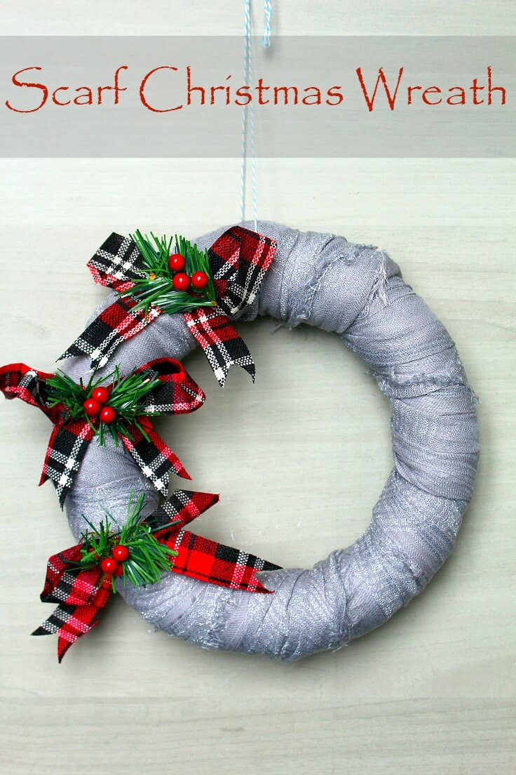 Christmas Wreath Tutorial Easy Home Decor From Recycled Scarf