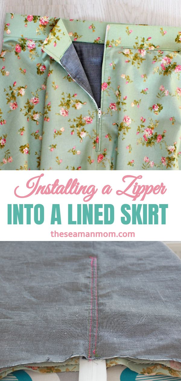 How to sew a zipper on a skirt with lining