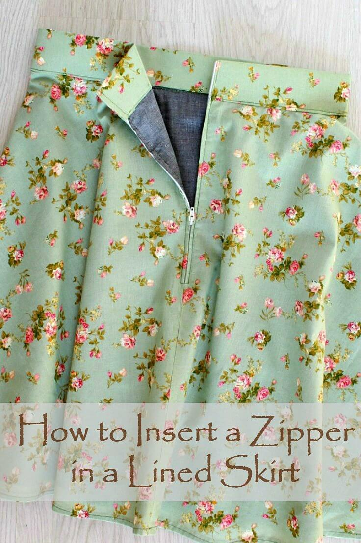 How to sew a zipper on a skirt