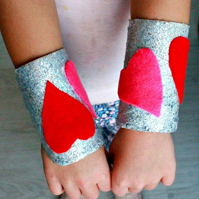 Valentine's Day Heart Cuffs Kids Craft