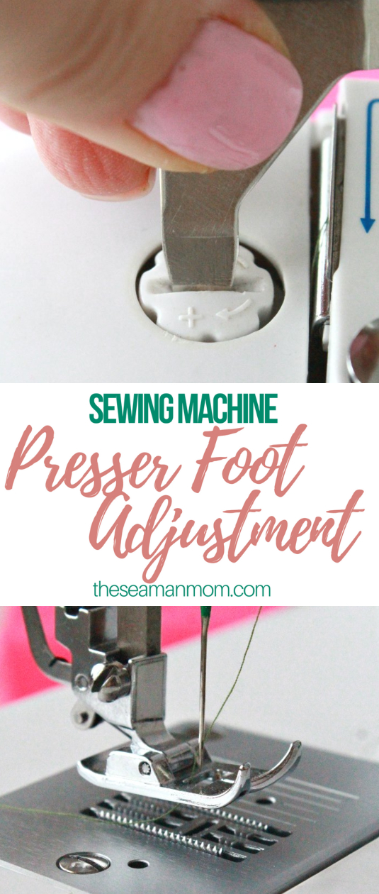 Sewing machine presser foot adjustment
