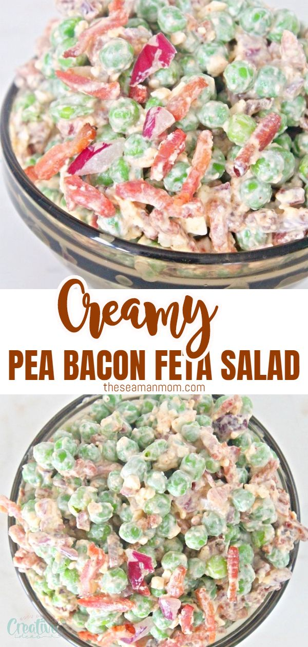 Love creamy, cheesy and crisp combinations? Try making this easy and super yummy spicy bacon pea salad with feta cheese! via @petroneagu