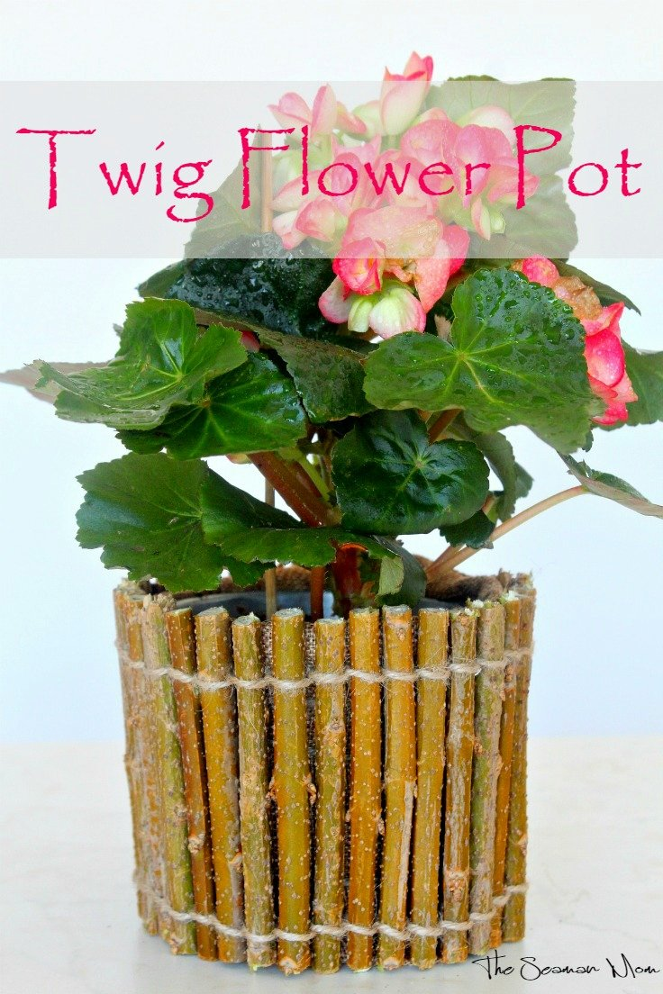 DIY Twig Flower Pot