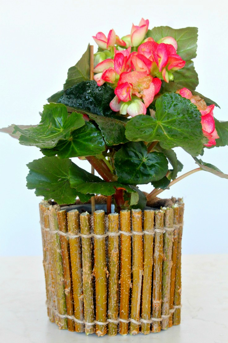 Rustic Flower Pot Affordable And Easy Made With Twigs And