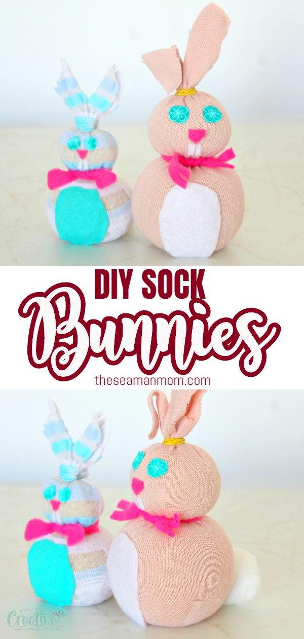 Get crafty this Easter and make a bunch of adorable Easter bunnies with this simple sock bunny craft. Ready in 5 minutes, these adorable decorations will make any space a tons more cheerful! via @petroneagu