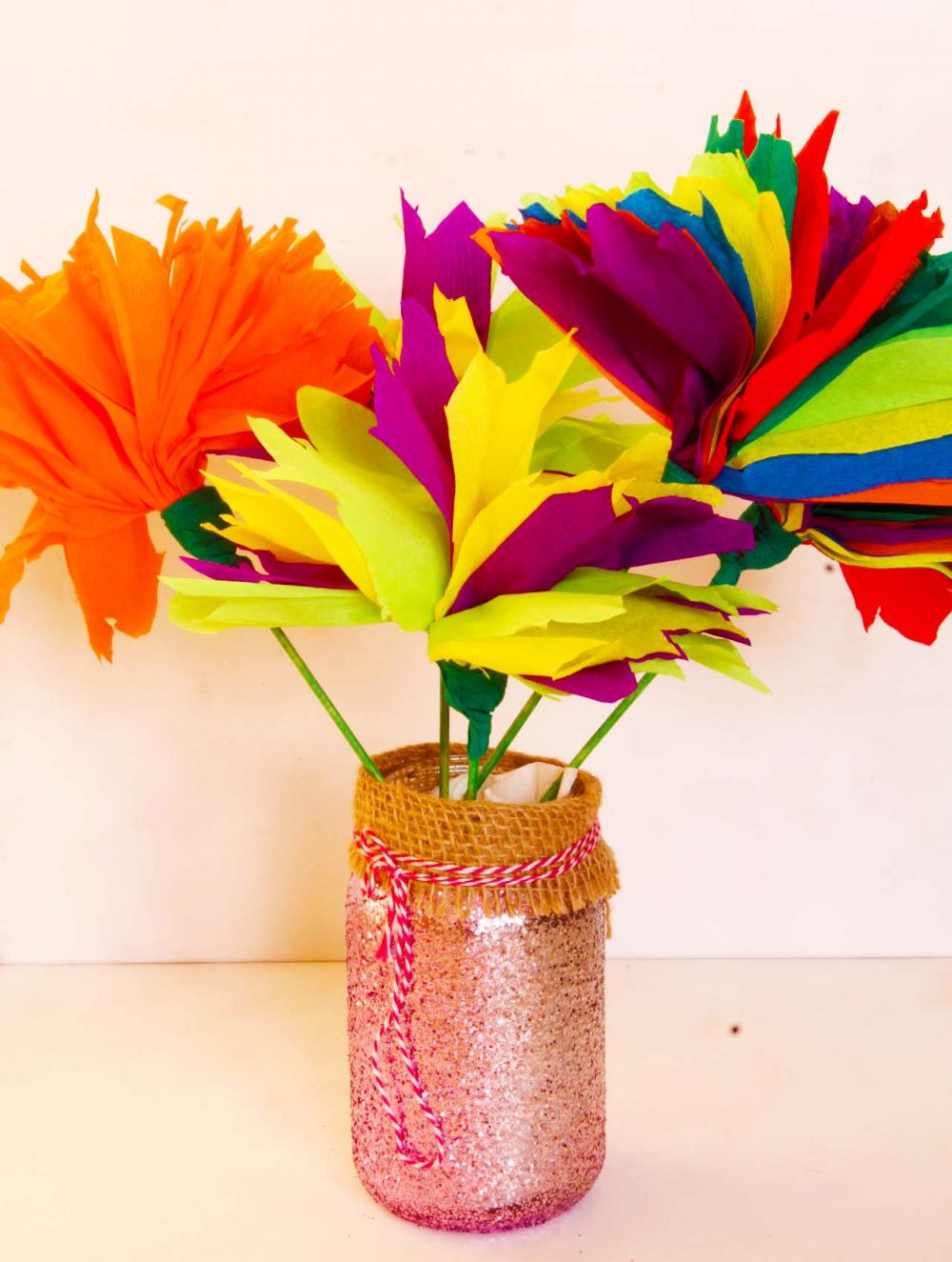 Easy tissue paper flowers craft for kids with video tutorial easy tissue paper flowers made with crepe paper in various colors mightylinksfo