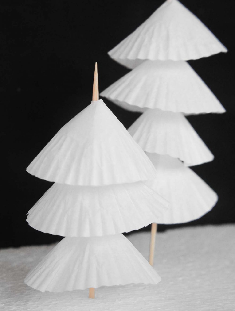 Paper christmas tree decorations with cupcake liners