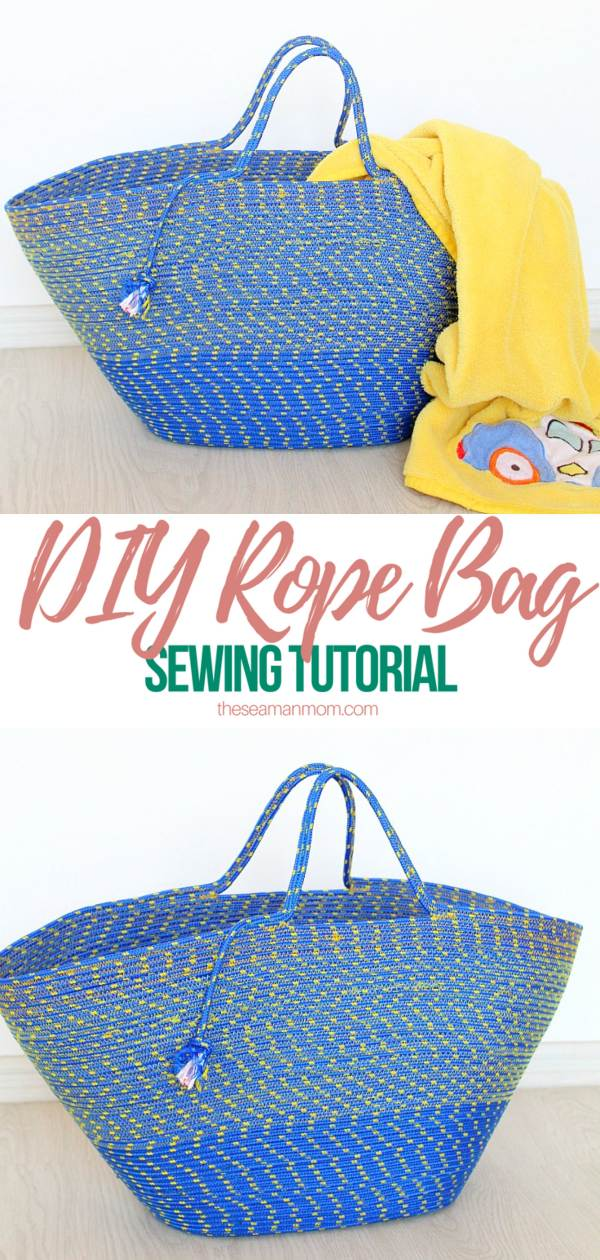 Rope bag made with blue and yellow rope
