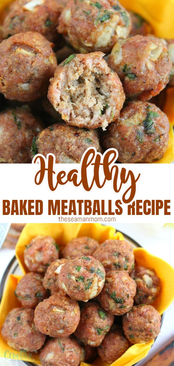 These easy to make and healthy baked meatballs are your foolproof, go to recipe, a much healthier alternative to the classic meatballs! You'll be making this baked meatball recipe over and over again! via @petroneagu
