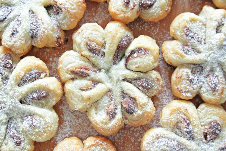 Stunning Nutella Peanut Butter Puff Pastry Flowers