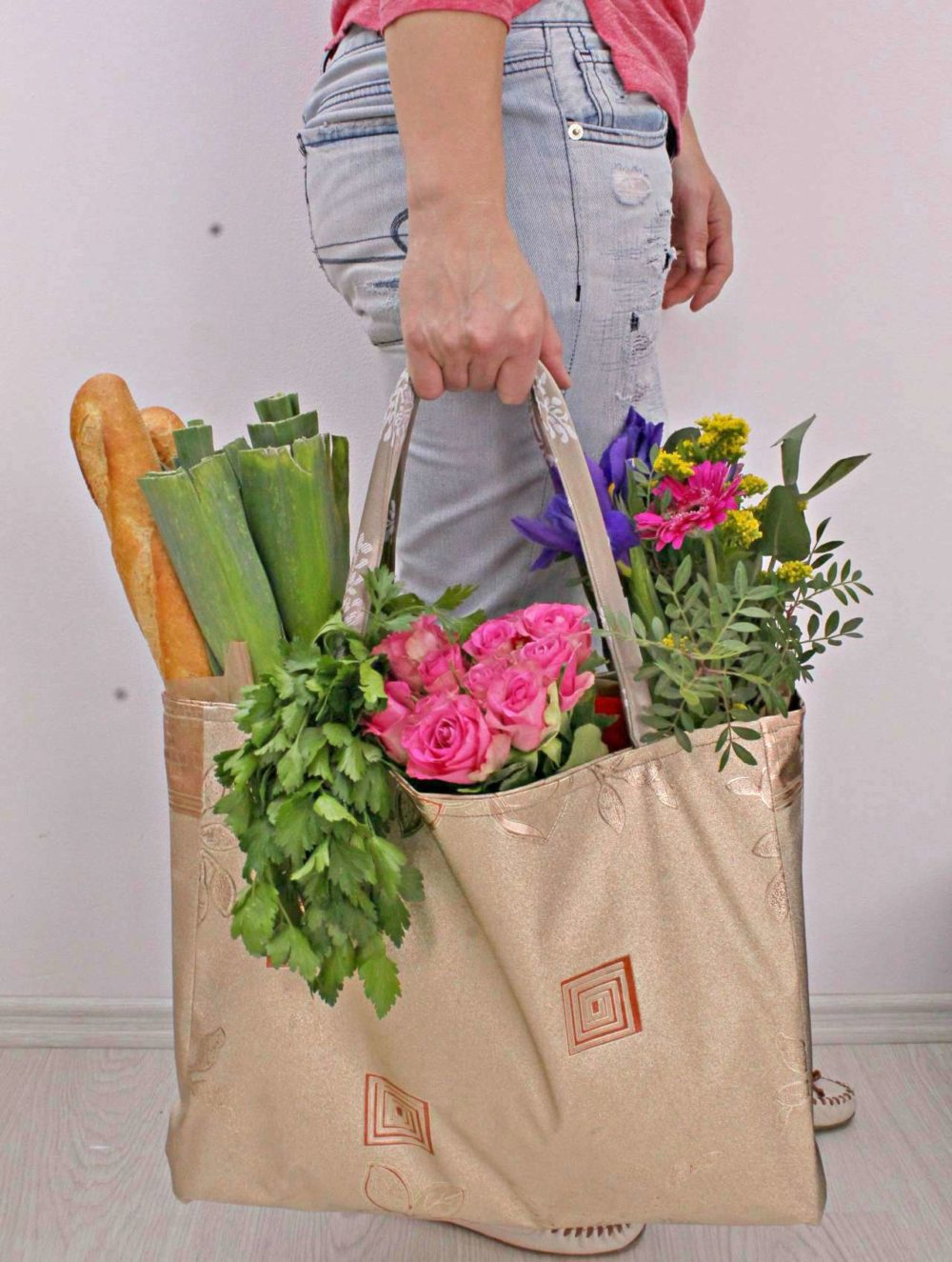 Grocery Bag Pattern Reusable Reversible Easy Peasy Creative Ideas