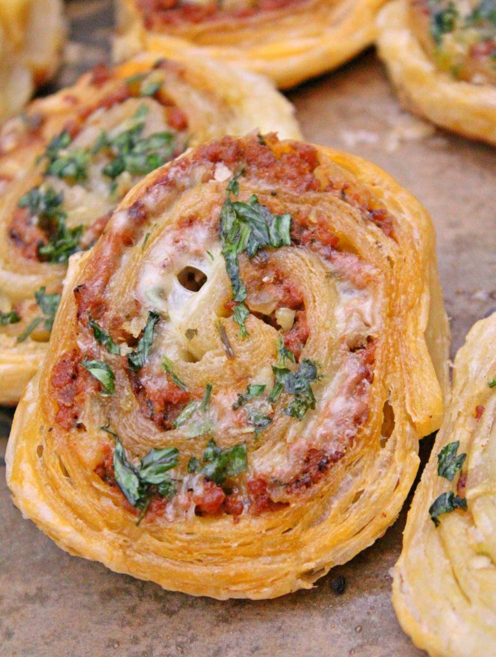 Garlicky & Cheesy Meat Pinwheels Recipe