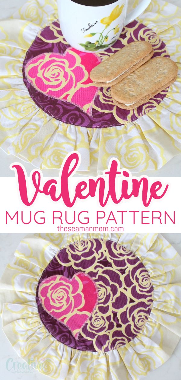 Need an easy gift idea for Valentine's Day? This Valentine mug rug is cute and practical and would make a great gift for a wedding, an anniversary or just for every day use! via @petroneagu