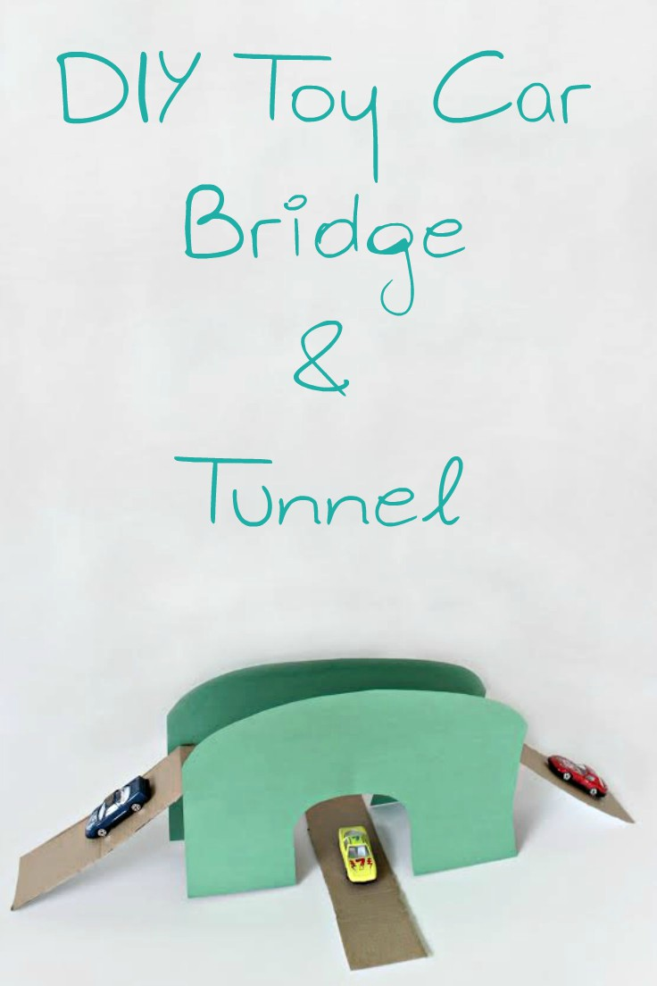 Entertain your kids with a simple but fun project! This easy peasy toy bridge for cars doubles down as a tunnel and will keep kids busy for hours!