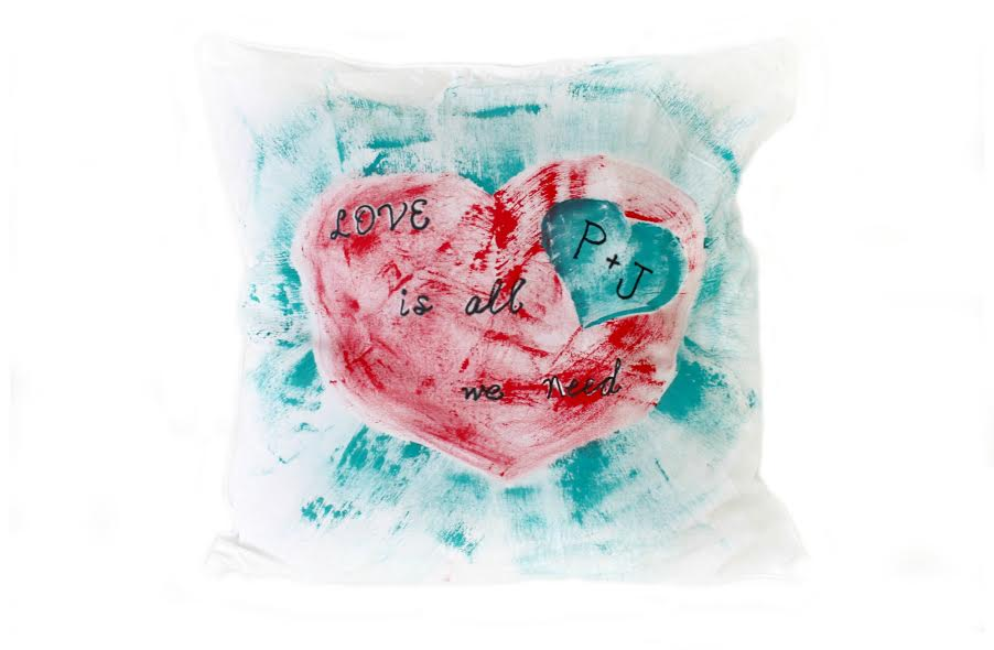 painted valentine pillow