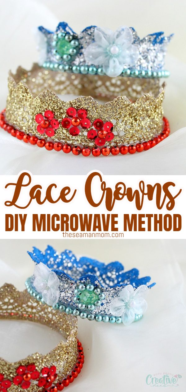 Hosting a kids birthday party or dress-up soon? Make the little girls happy with this lace crown tutorial! A must for every princess, a glitter crown is fun and simple to make! via @petroneagu