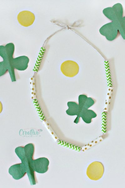 DIY St Patrick Necklace Craft With Paper Straws