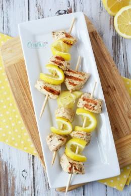 Lemon chicken skewers marinated in Greek seasoning
