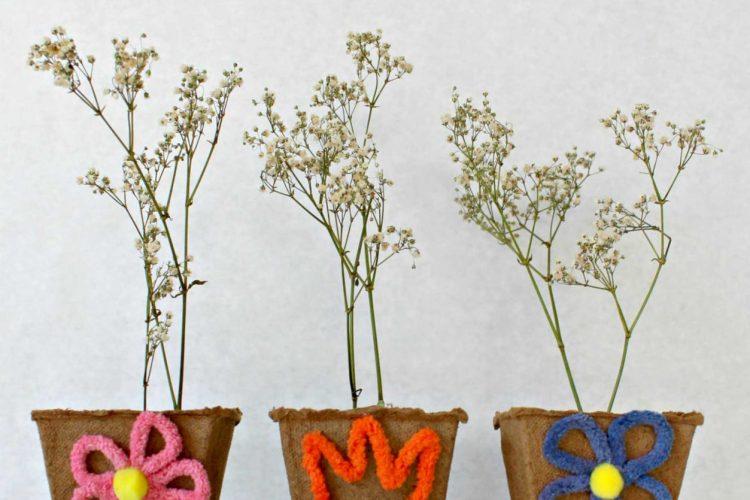 DIY Mini Flower Pots From Peat Planters