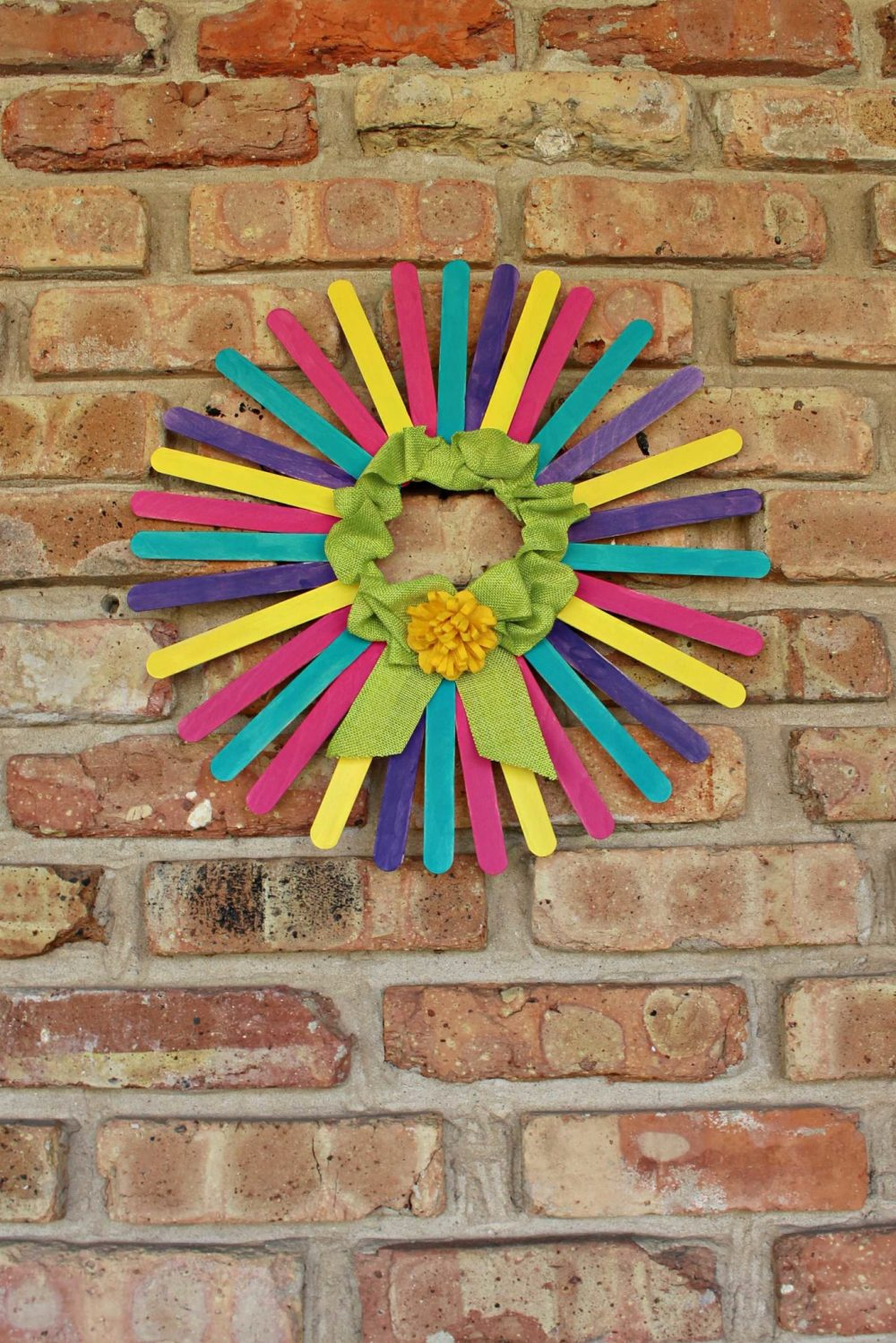 DIY Spring Wreath For Front Door made with painted craft sticks