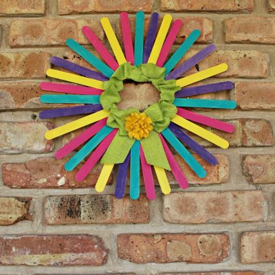 Colorful DIY Spring Wreath With Craft Sticks