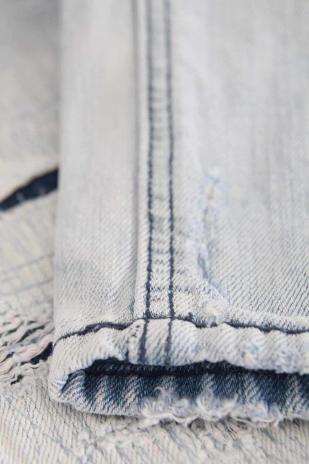 Pair of jeans featuring the felled seam on the inside seam