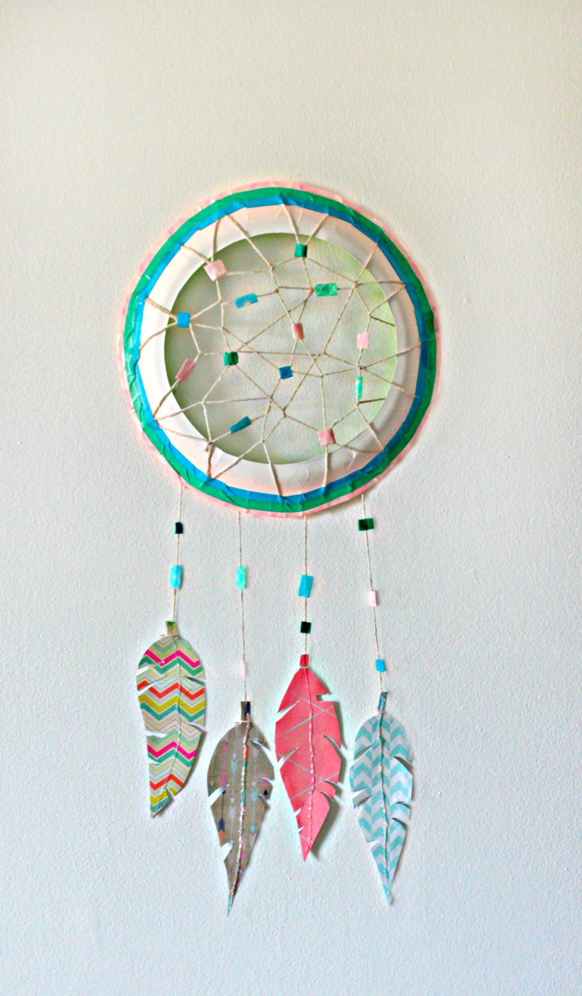 Paper Plate Dream Catcher With Paper Feather Washi Tape