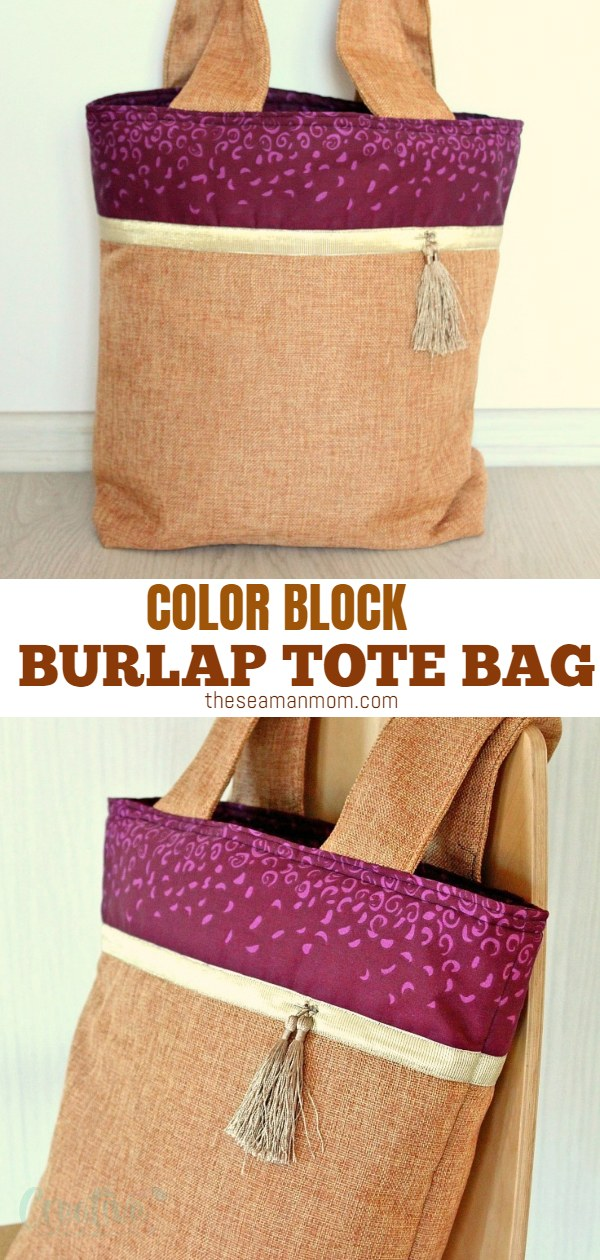 Make a gorgeous and practical burlap tote bag with this easy and quick tutorial! This pretty color block tote bag makes a great project for beginner sewists and is great as an every day bag or a shopping tote! via @petroneagu