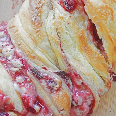 Strawberry Puff Pastry Braid With Cream Cheese