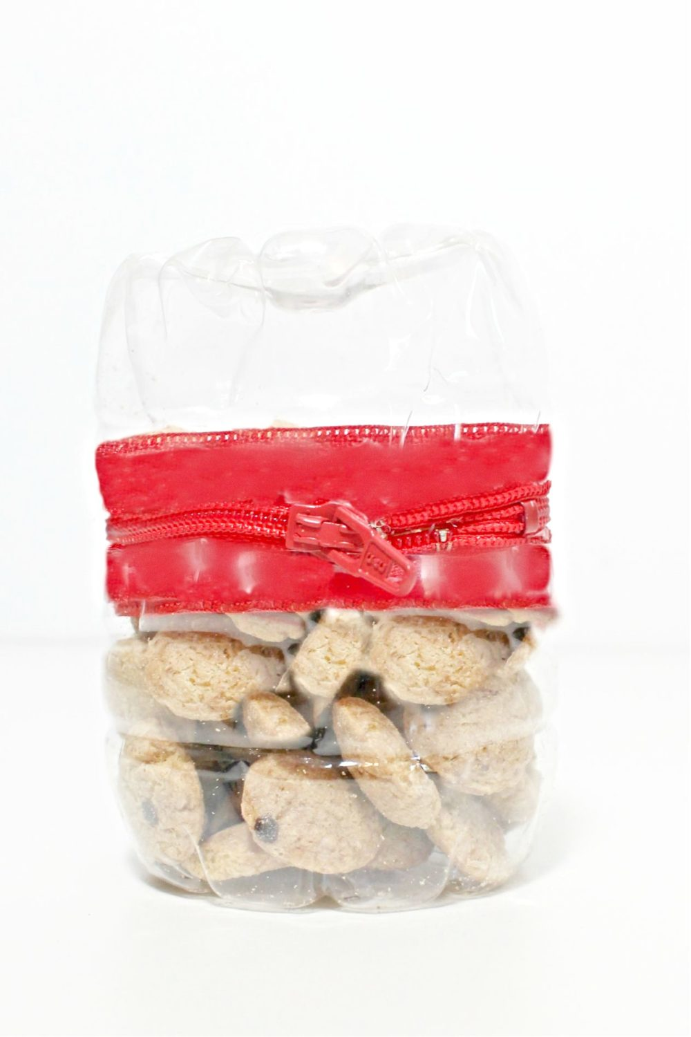 Snack organizer from plastic bottle and zipper