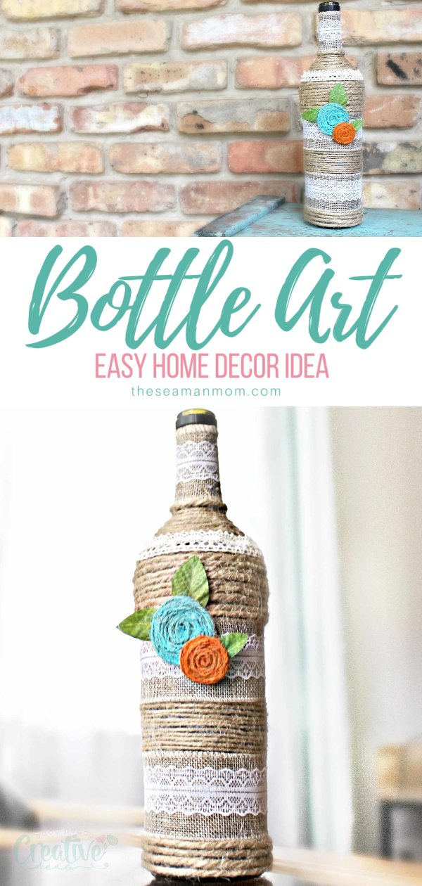 Looking for ways to re-purpose those old wine bottles you keep collecting? Learn how to decorate glass bottles with this simple but gorgeous bottle art idea! via @petroneagu