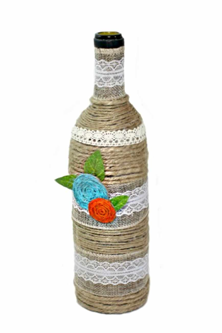 Bottle Art With Twine Lace Easy