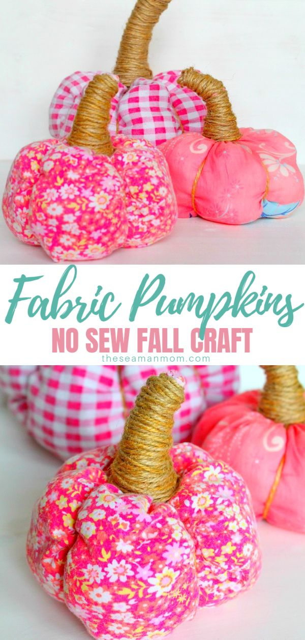 Make a fun, adorable and easy pumpkin with this 15 minutes tutorial on fabric pumpkins that are no sew and suitable for all skills! These DIY fabric pumpkins are also great fall crafts to make with the kiddos! via @petroneagu