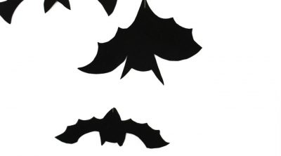 Hanging bats Halloween decoration made from black foam sheets