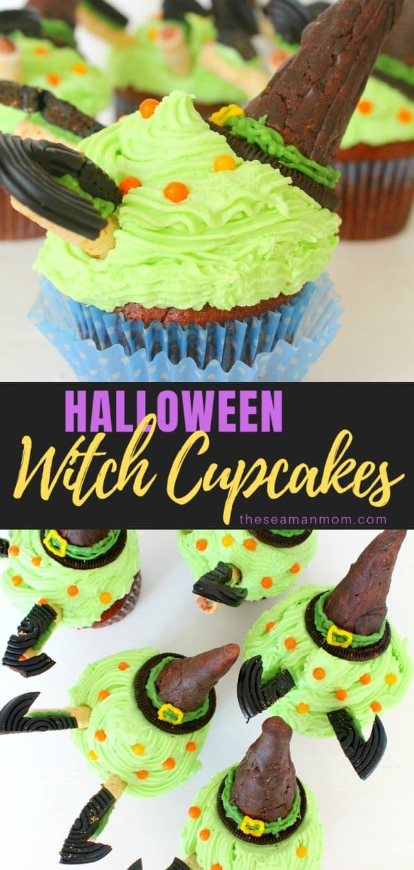 Need a spooky idea for wickedly good cupcakes this Halloween? Try these yummylicious witch cupcakes! via @petroneagu