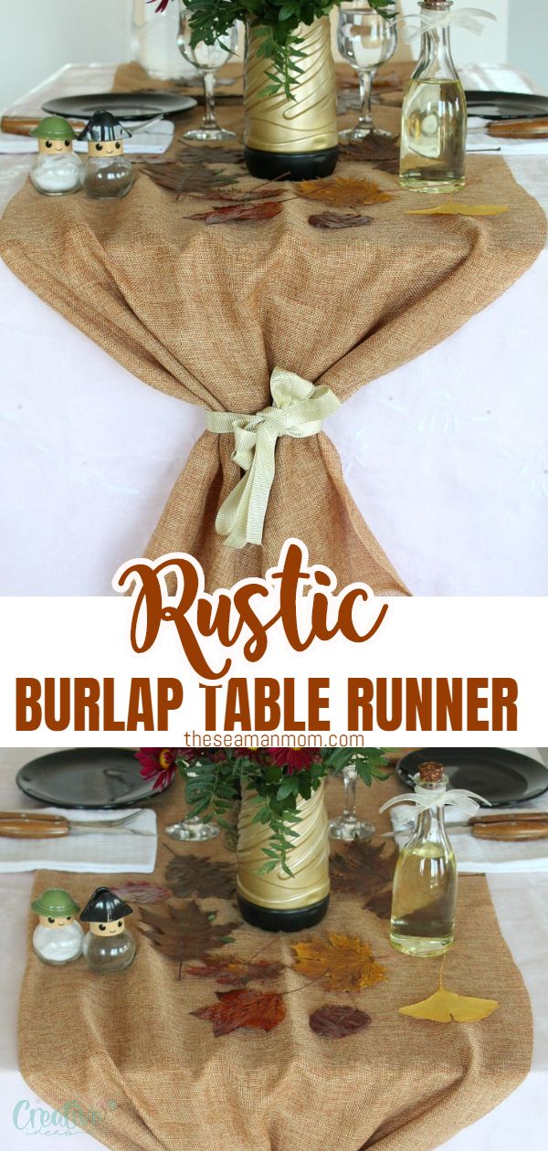 If you're looking for an affordable burlap decor or a rustic table runner for the upcoming entertaining season, you might wanna consider making this burlap table runner! Thanksgiving table runners couldn't get any easier, made from just burlap and ribbon! via @petroneagu