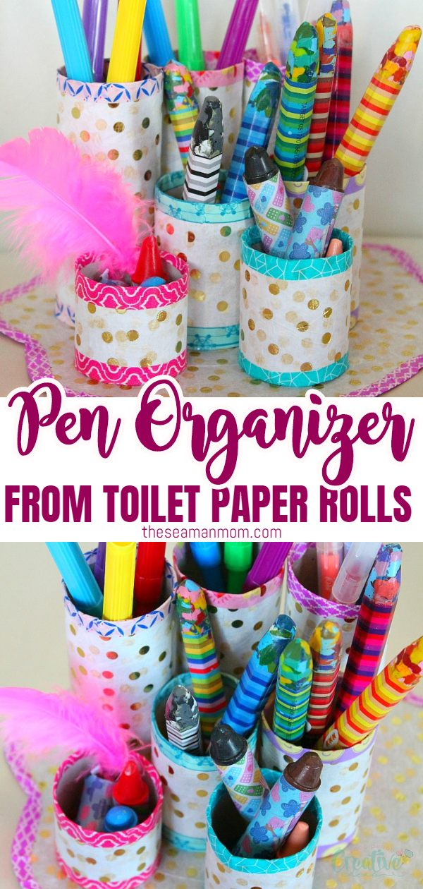 Need a little help to keep all your pens, markers and pencils organized? This DIY pen organizer is a great project to make with recycled toilet paper tubes. via @petroneagu