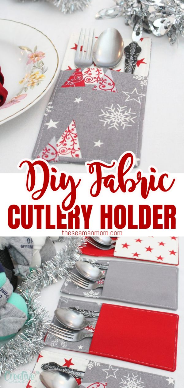 Dress up your pretty holiday cutlery even more with these adorable pockets. Making a DIY cutlery holder with fabric could not get any easier and these Christmas cutlery holders definitely have to be on your table! via @petroneagu