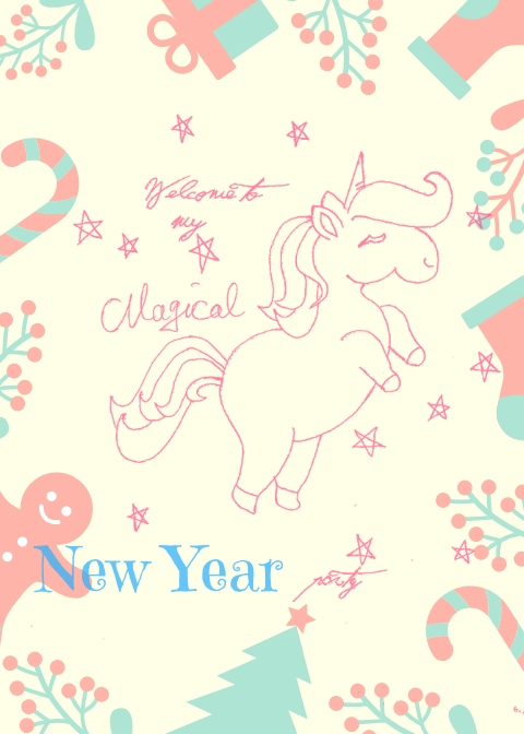 Unicorn printables for a Christmas party in pink