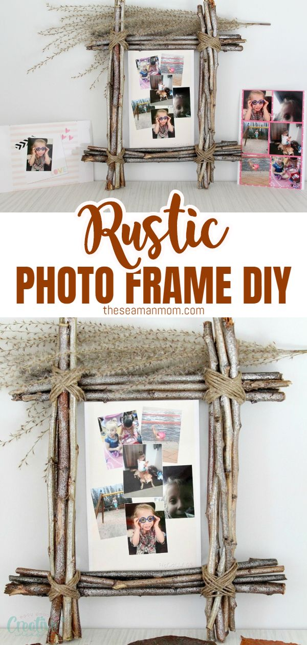 Rustic home decor makes any space cozier! Give it even more warmth with an easy, inexpensive twig frame for photos using simple, affordable and easy to find supplies like twigs and twine. via @petroneagu