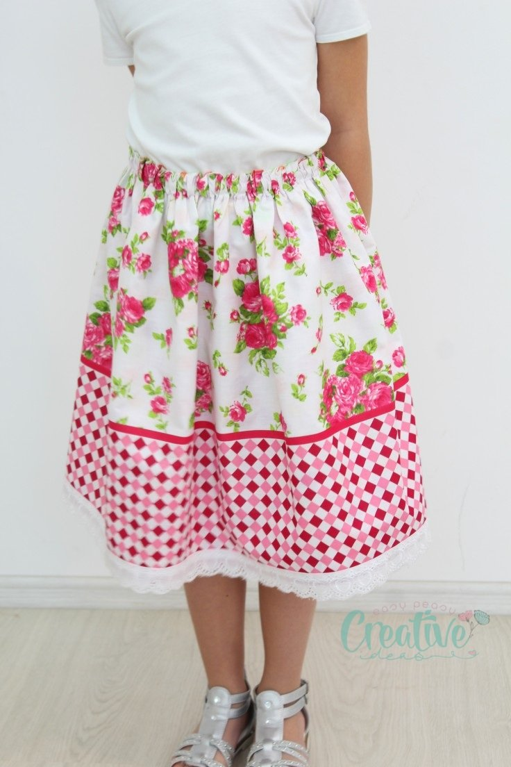 2a8ed40c18cc0 Reversible Skirt For Girls With Lace Trim and Double Fold Bias Hem
