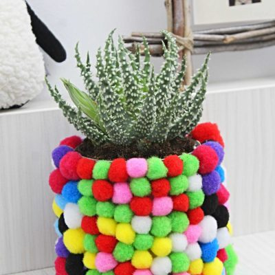 DIY Flower Pot With Pom Poms