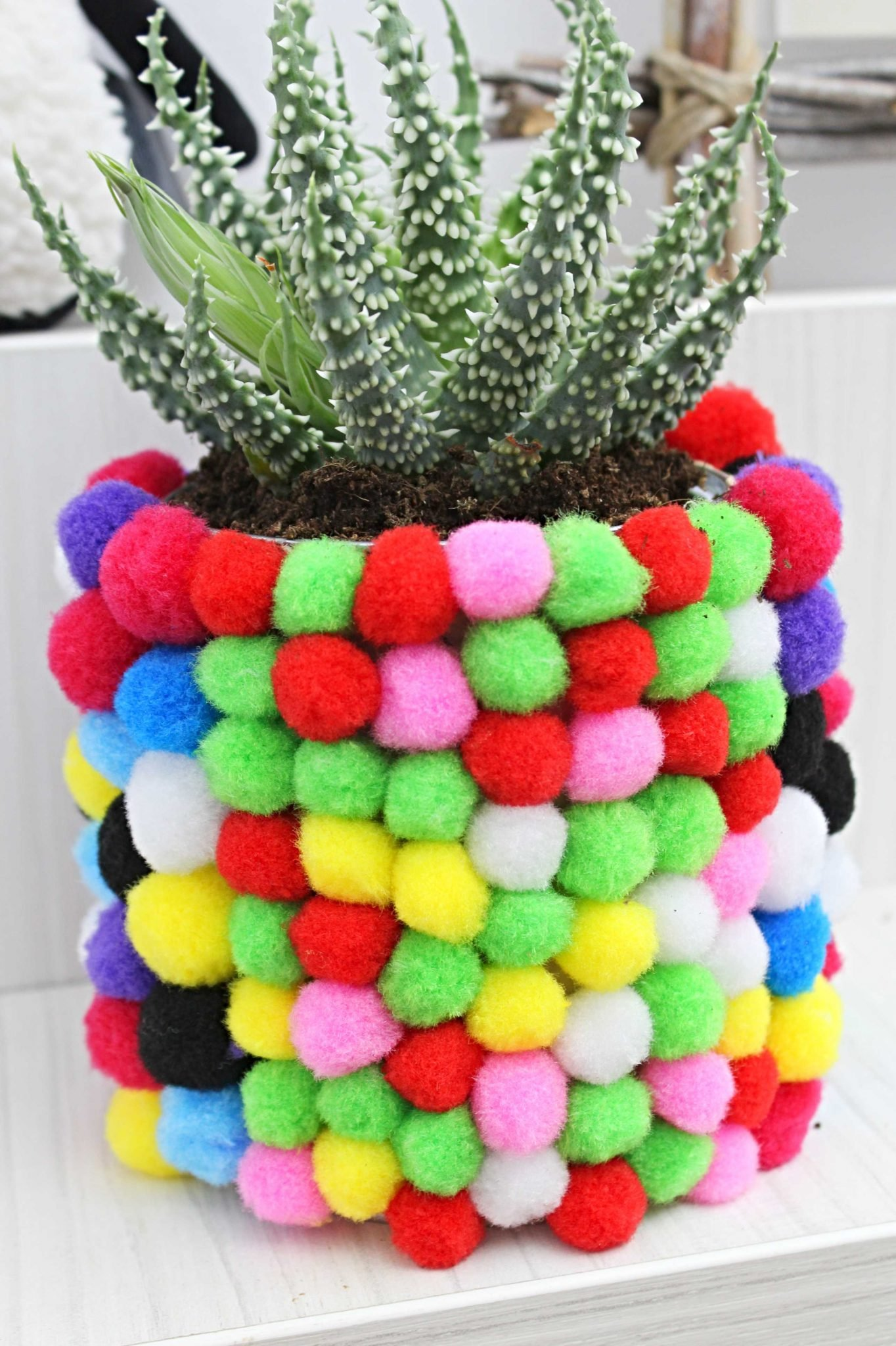 DIY Flower Pot With Pom Poms Cute Flower Pot Decoration