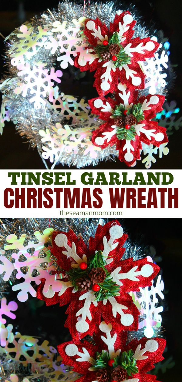 Get into the Christmas spirit with this 5 minute tinsel wreath made with silver tinsel! Simple & festive, this Christmas tinsel wreath requires just a few supplies & no glue! via @petroneagu