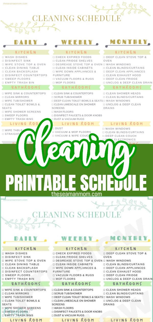 Keeping a clean home is more difficult than you expected? This handy dandy printable cleaning schedule helps you stay on track and keep our home neat and tidy all the time! Here's how to make your home sparkle with this cleaning schedule printable that covers all daily, weekly and monthly chores! via @petroneagu