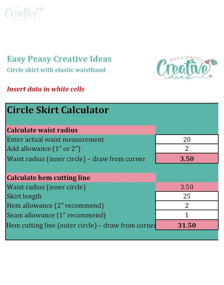 Circle skirt calculator